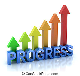 Progress colorful graph concept Isolated