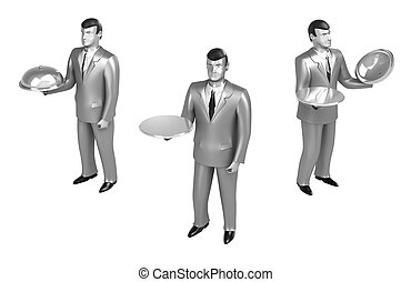 Waiter isolated on white. 3D image.