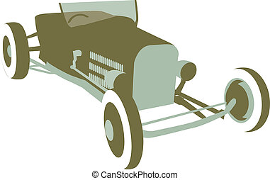 Hot Rod - Retro looking illustration of a hot rod sitting at...