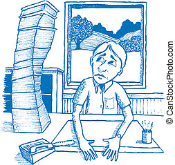 Mountain of Paperwork - Illustration of a man staring at a...