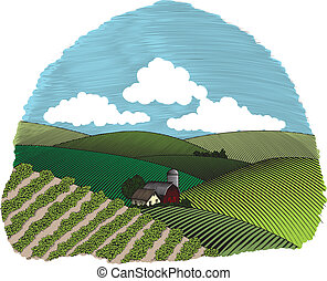 Rural Farm Scene Vignette Color - Woodcut style illustration...