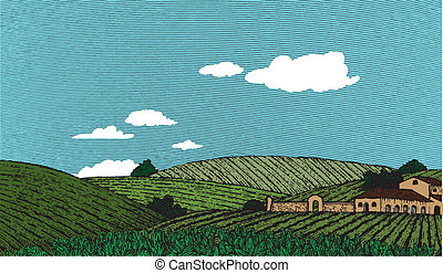 Tuscan Landscape Scene Color - Woodcut style illustration of...