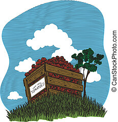 Vegetable Crate Vignette Color - Woodcut style illustration...