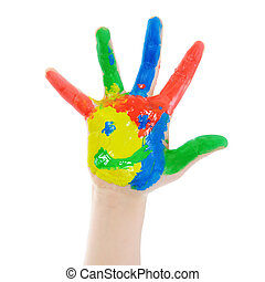 Hand Painted Child - Childrens hand in the paint Isolated on...