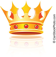 gold royal crown. Vector illustration isolated on white...
