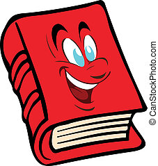 The vector red book with the face