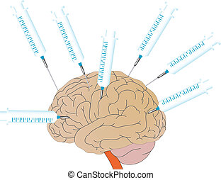 Vector a human brain and medical syringes