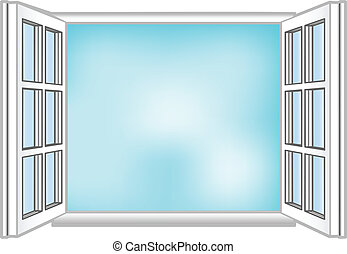 Vector illustration a window and the sky
