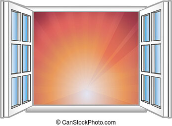 Vector illustration a window and rising