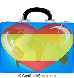 vector illustration a suitcase with globe and heart spain