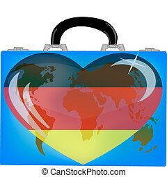 vector illustration a suitcase with globe and heart germanyon a white background