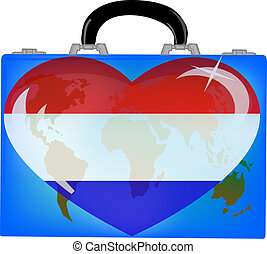vector illustration a suitcase with globe and heart holland on a white background