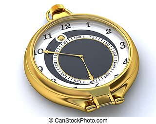 Gold pocket watch with white dial and black center.