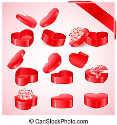 Valentine`s day collection of heart shaped gifts