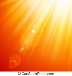 Abstract sun rays - Warm sun light. Vector illustration