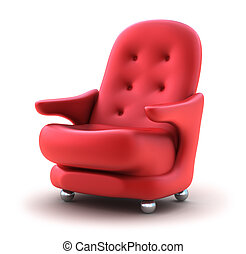 Red Easy chair, isolated on white