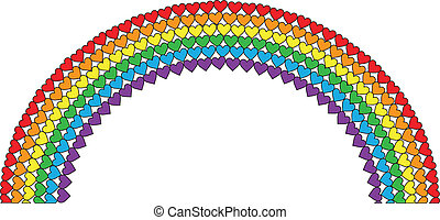 Heart Rainbow - A rainbow made with rows of hearts in...