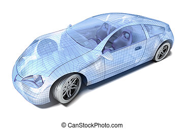 Clipart of Car design, wireframe model. My own design isolated on ...