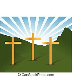three holy crosses illustration landscape