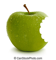Apple - fresh green apple with water droplets against a...