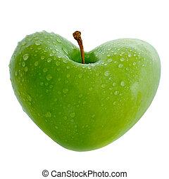 maçã, com, Coração