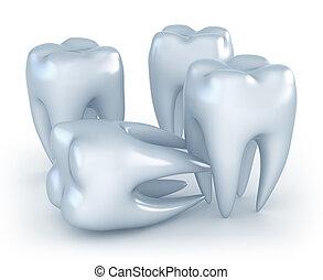 fundo, imagem,  3D, branca, dentes