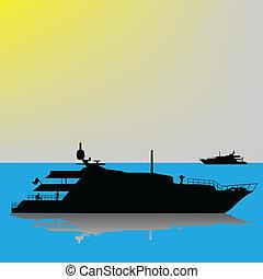 Large yacht at sea