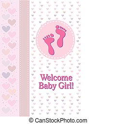 Baby Girl Footprints Birth Announce - A baby girl birth...