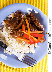 Pork meat with rice