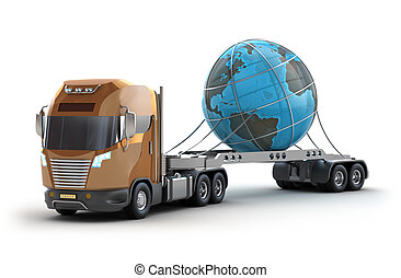 Modern truck carrying the earth, isolated on white 3d image