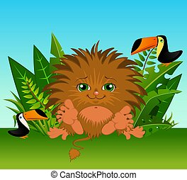 Funny little wild animal sits in a grass with parrots.