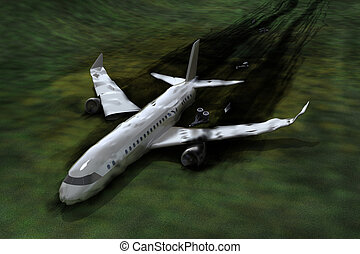 Airplane crash, 3d image