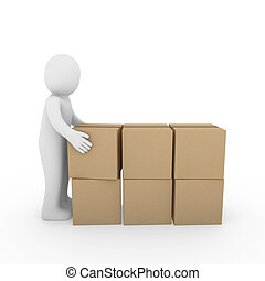 3d human carton package shipping - 3d, human, package,...