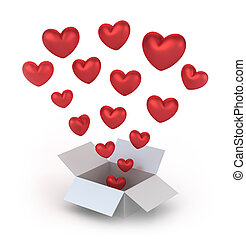 Valentine's Day gift box, 3D concept isolated on white