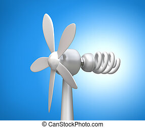 Wind generator and modern lamp 3D concept on blue background...
