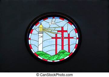 Lighthouse Cross Stained Glass Artw - Stained glass circle...