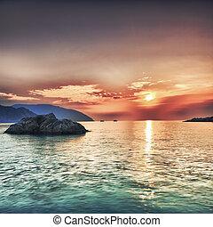 Sunrise over the sea. Con Dao. Vietnam