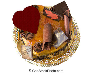 Valentine cake - Chocolat and cream valentine cake, heart...