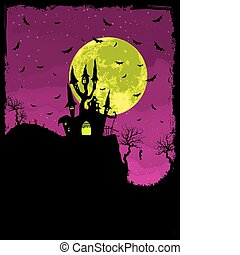 Scary Halloween Castle with Copy Space. EPS 8 vector file...