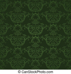 Dark green floral wallpaper. This image is a vector...