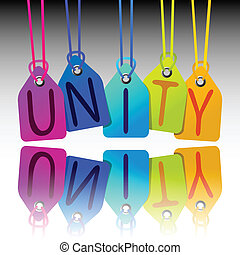 unity tags, abstract vector art illustration