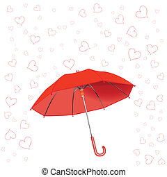 hearts fall and umbrella against white background, abstract...