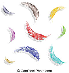 colored feathers collection against white background,...
