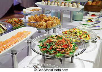 food at buffet dinner