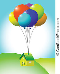 flying house, abstract vector art illustration