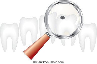 tooth under magnifying glass - decayed tooth under...