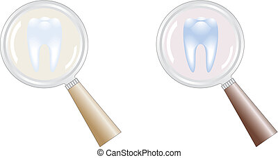tooth under magnifying glass in focus of attention,...
