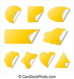 yellow sticker in different shapes