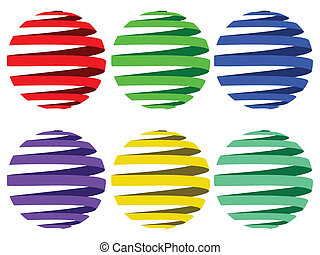 sphere ribbons against white background, abstract vector art...
