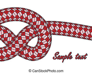 tiled knot on red climbing rope against white background,...